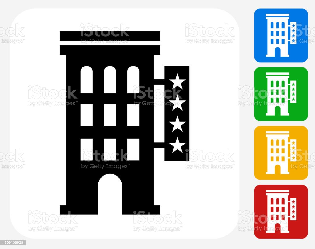 Four Star Hotel Icon Flat Graphic Design vector art illustration