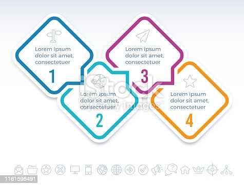 Four step speech bubble diamond infographic symbols.