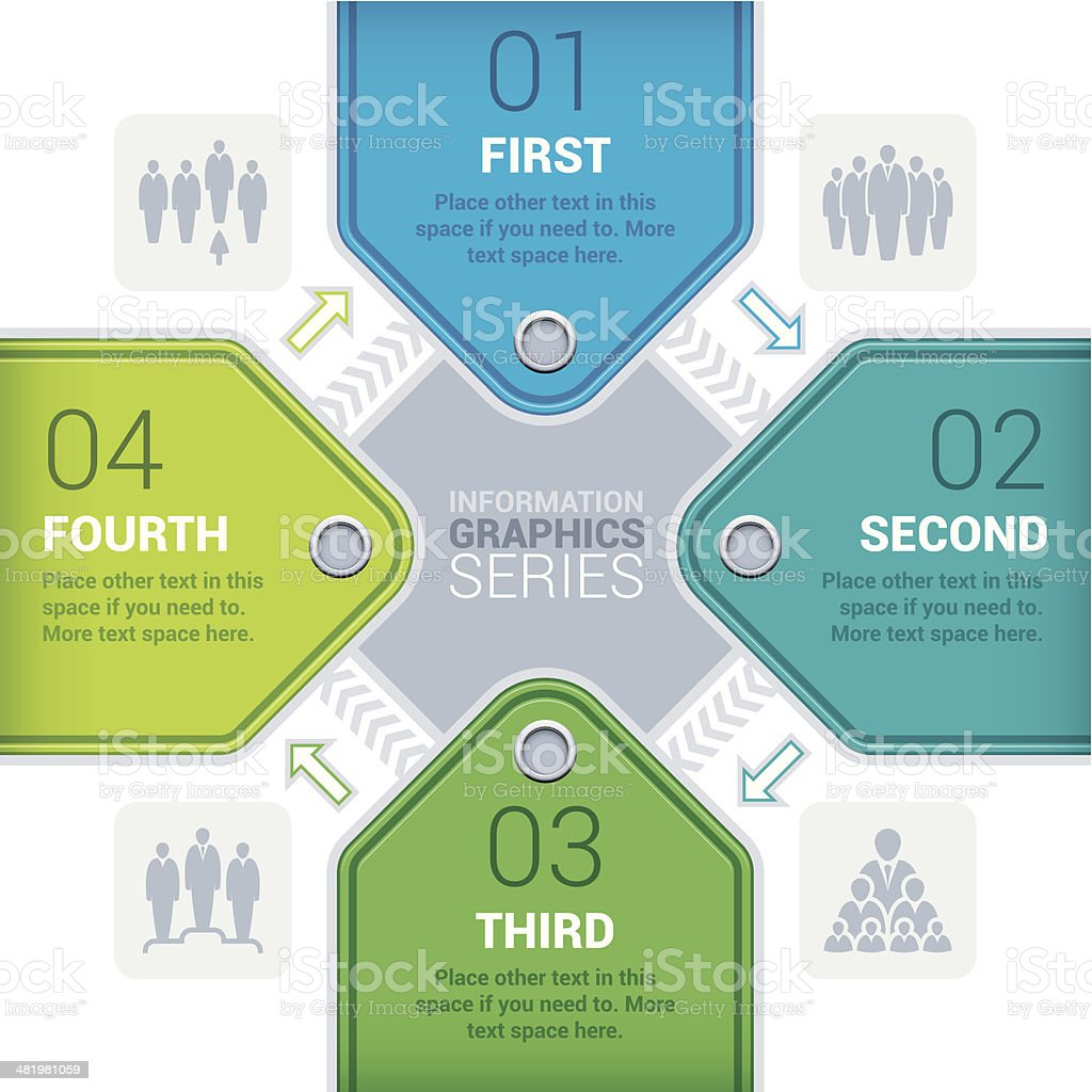 Four step infographic tags royalty-free stock vector art