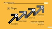 Process chart slide template. Business data. Graph, four step diagram. Concept for infographic, project. Can be used for topics like business strategy, planning