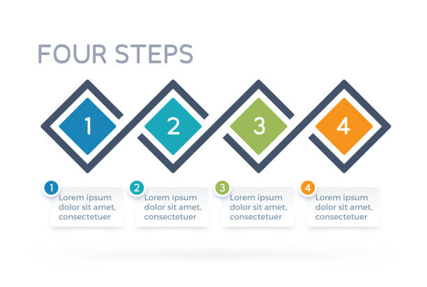 four step process infographics - motion stock illustrations