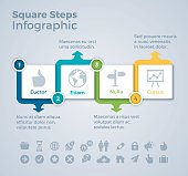 Four steps square infographic arrow symbol infographic concept with space for your copy. EPS 10 file. Transparency effects used on highlight elements.