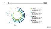 Four steps doughnut chart slide template. Business data. Circle, diagram. Creative concept for infographic, presentation. Can be used for topics like analysis.