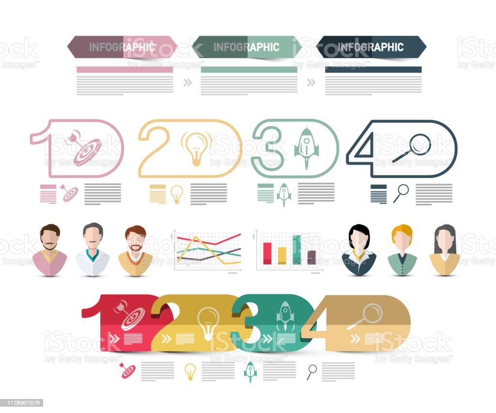Four Steps Modern Web Presentation With People Avatars Icons And
