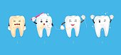 Cartoon character design, before and after. Whitening teeth, dental care concept.  Illustration isolated on blue background.