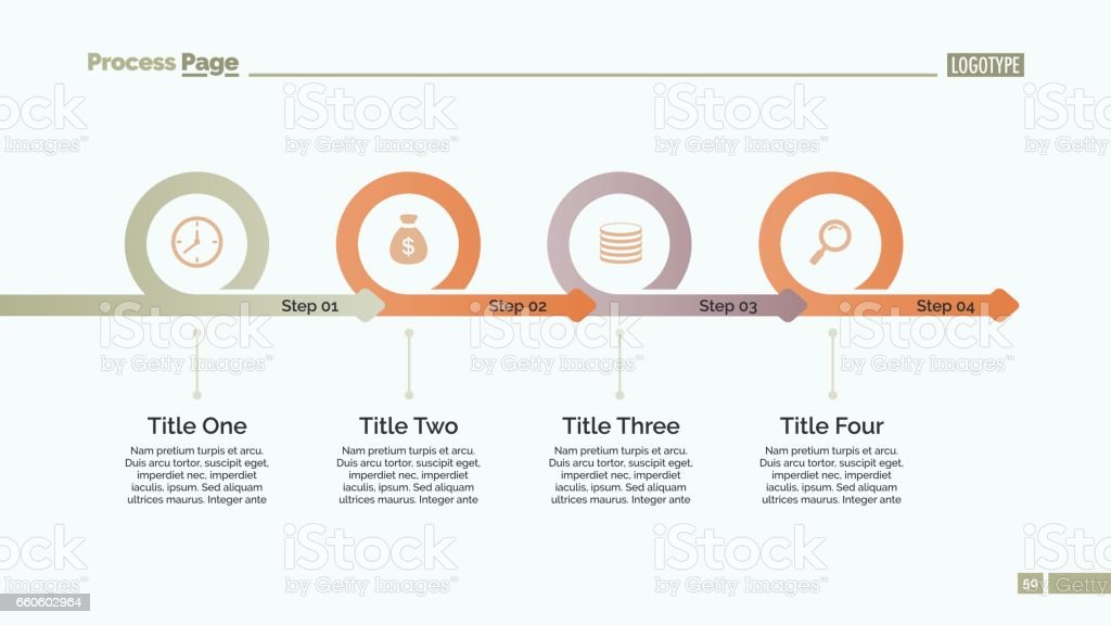 Four Steps Timeline Slide Template royalty-free four steps timeline slide template stock vector art & more images of abstract