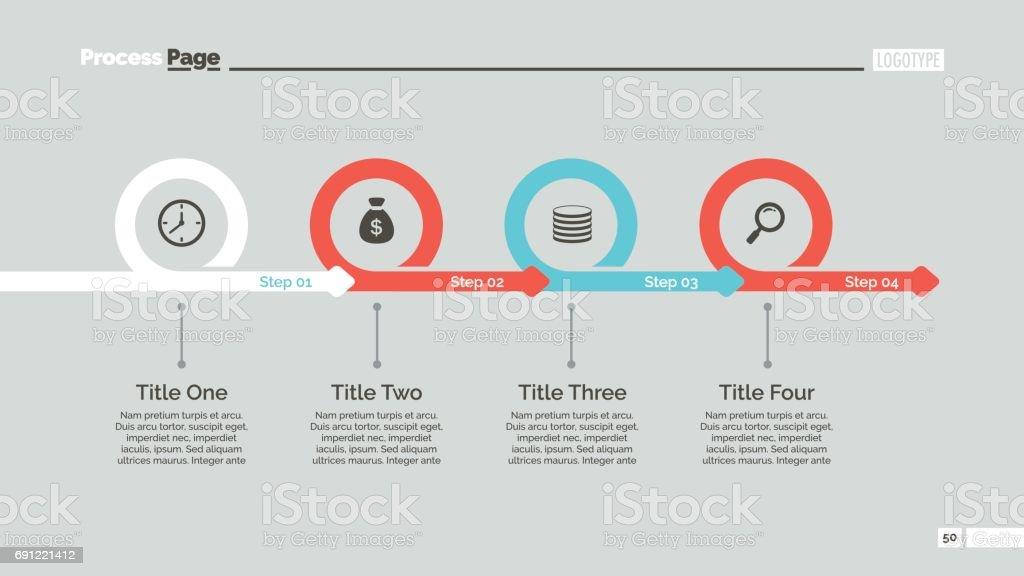 4 つのステップのタイムラインのスライドのテンプレート アイコンの