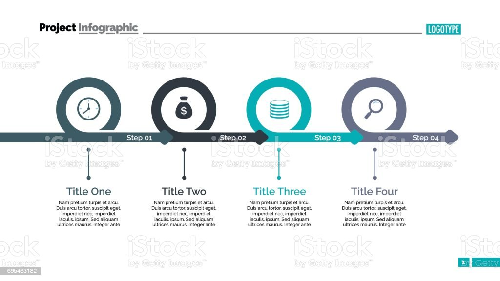 Four Steps Timeline Slide Template vector art illustration