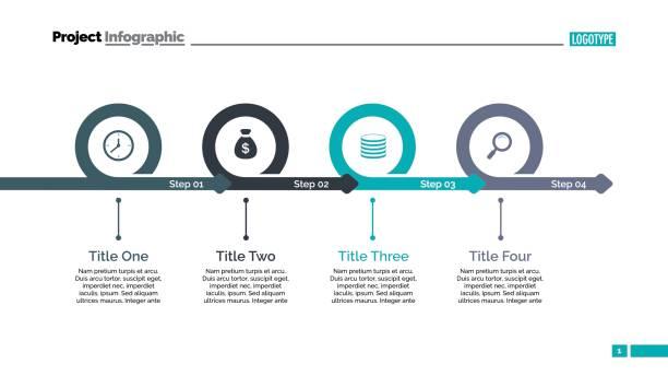 four steps timeline slide template - timeline infographics stock illustrations, clip art, cartoons, & icons