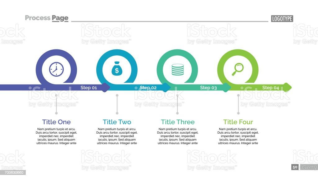 Four Steps Timeline Slide Template royalty-free four steps timeline slide template stock illustration - download image now