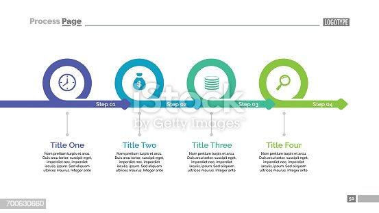 Process chart slide template. Business data. Graph, diagram. Creative concept for infographic, templates, presentation, report. Can be used for topics like planning, statistics, research.