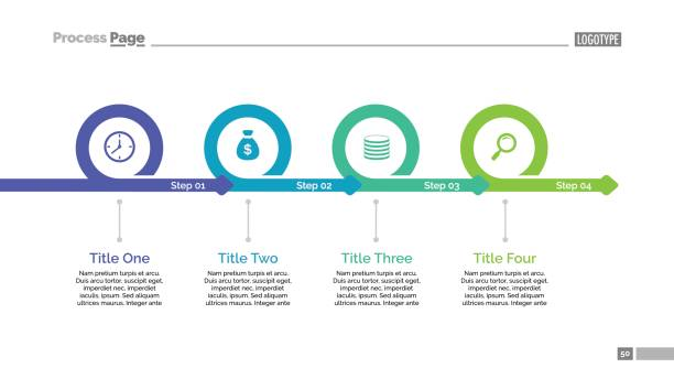 four steps timeline slide template - flowing stock illustrations, clip art, cartoons, & icons