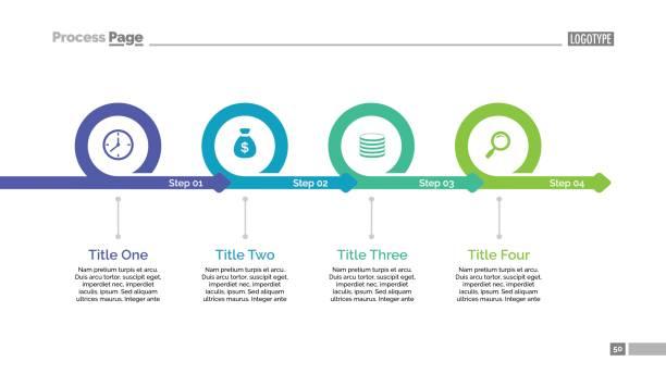four steps timeline slide template - flowing stock illustrations
