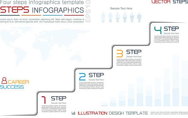 four steps to success infographic template - treppe stock-grafiken, -clipart, -cartoons und -symbole