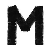 Letter M in vector. Hand painted graphic element made by paint roller and thick black acrylic paint.\nAmazing and original design. Zoom to see the details.\nVECTOR FILE - enlarge without lost the quality!\nLetter isolated on white paper background.
