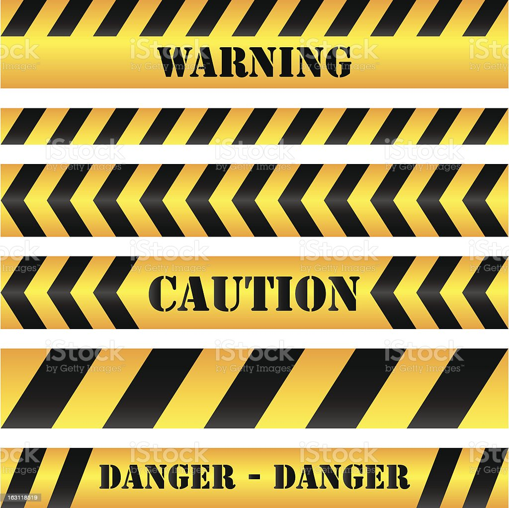 Four strips of yellow and black caution tape. vector art illustration