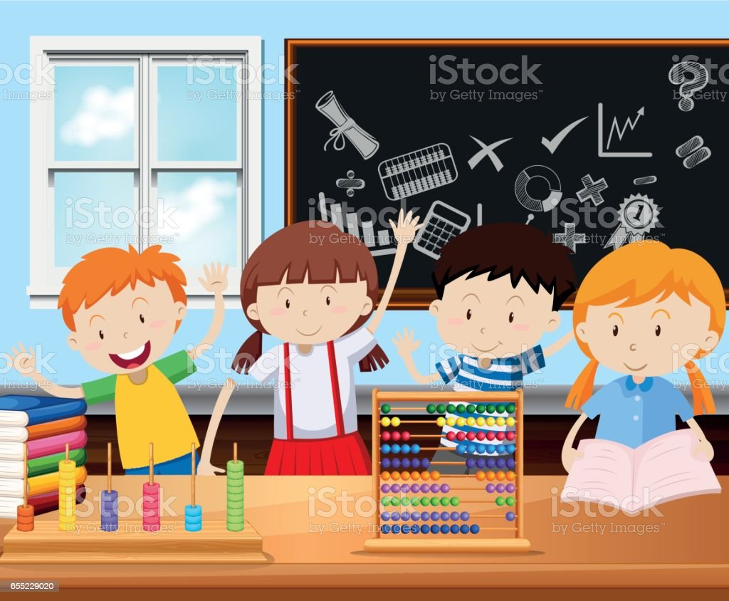 Four students in classroom vector art illustration