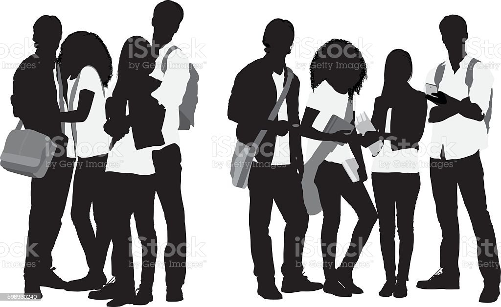 Four students standing together vector art illustration