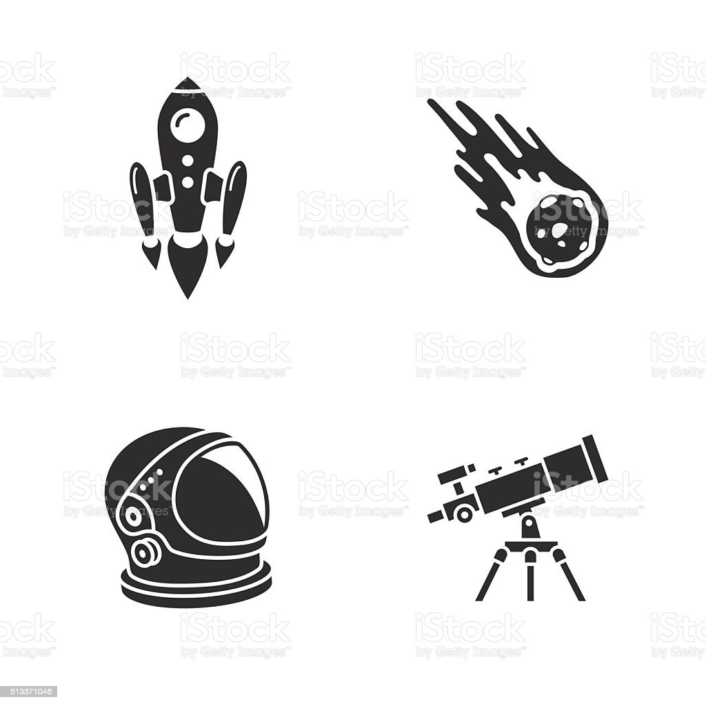 four stylish space icons vector art illustration