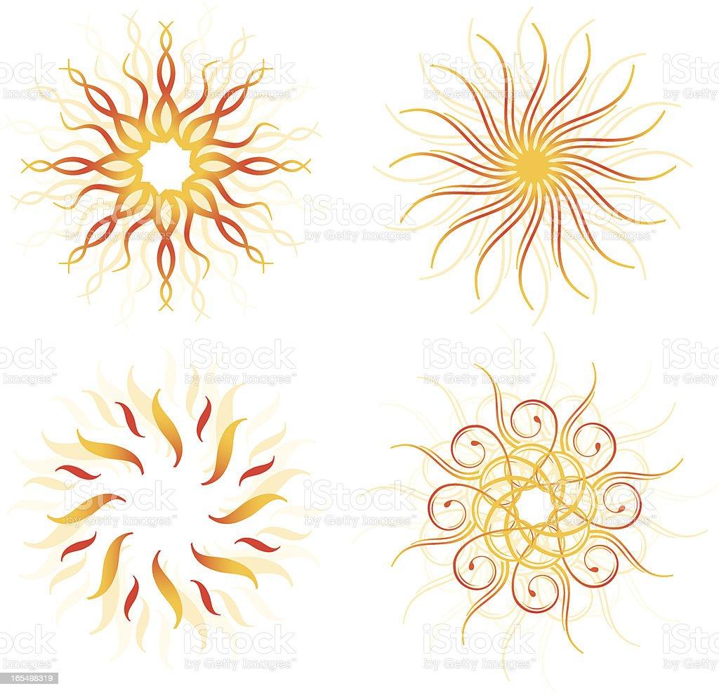 Four Suns royalty-free stock vector art