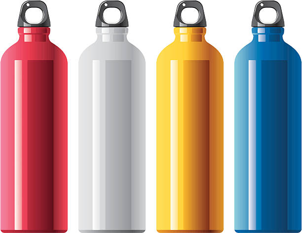 Four tall aluminum water bottles in different colors vector art illustration