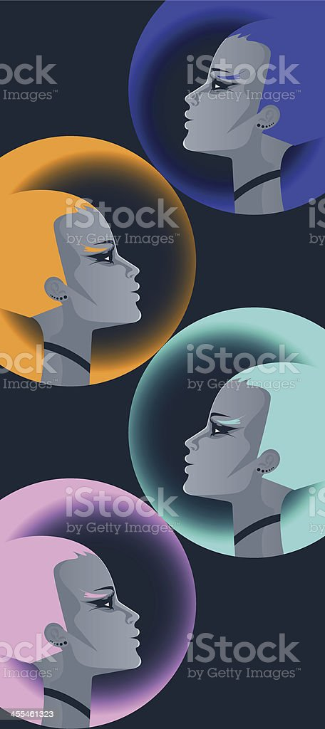 Four techno women. royalty-free stock vector art