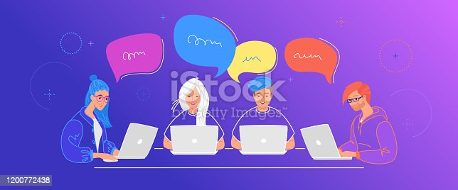 Four teenagers chatting together in social media using laptop at work desk. Flat line vector illustration of online chat, communication and online conversation. People with speech bubbles on blue