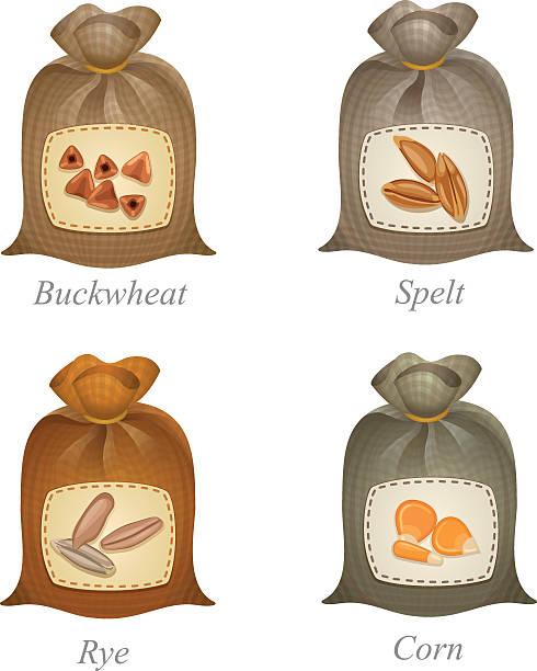 vier gebunden säcke mit müsli-labels auf sie - dinkelbrot stock-grafiken, -clipart, -cartoons und -symbole