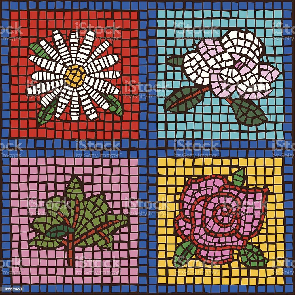 Four Tile Flowers royalty-free stock vector art