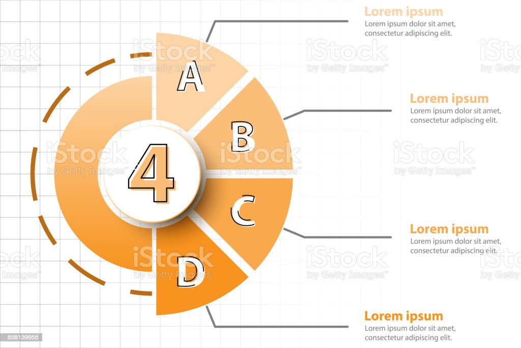 Four Topics Of Orange Half Pie Chart With 3d Paper Circle In Center