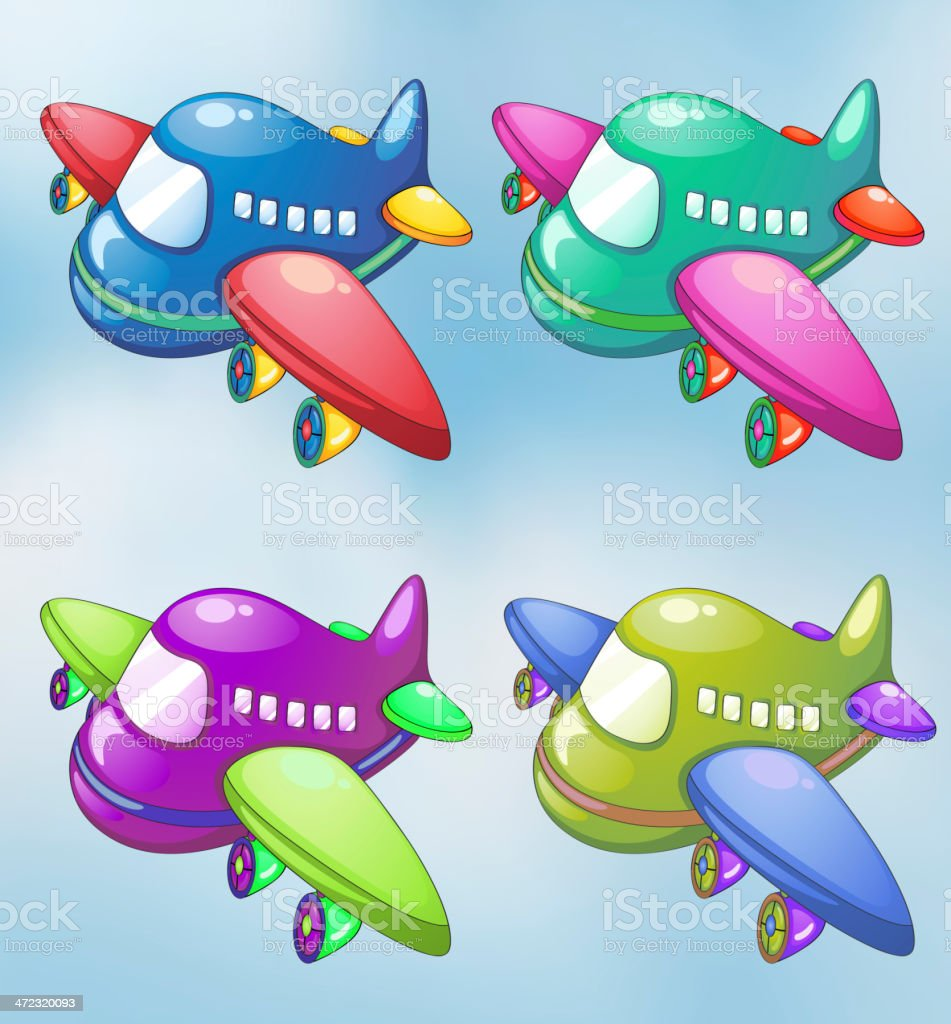 Four toy planes in the sky royalty-free stock vector art