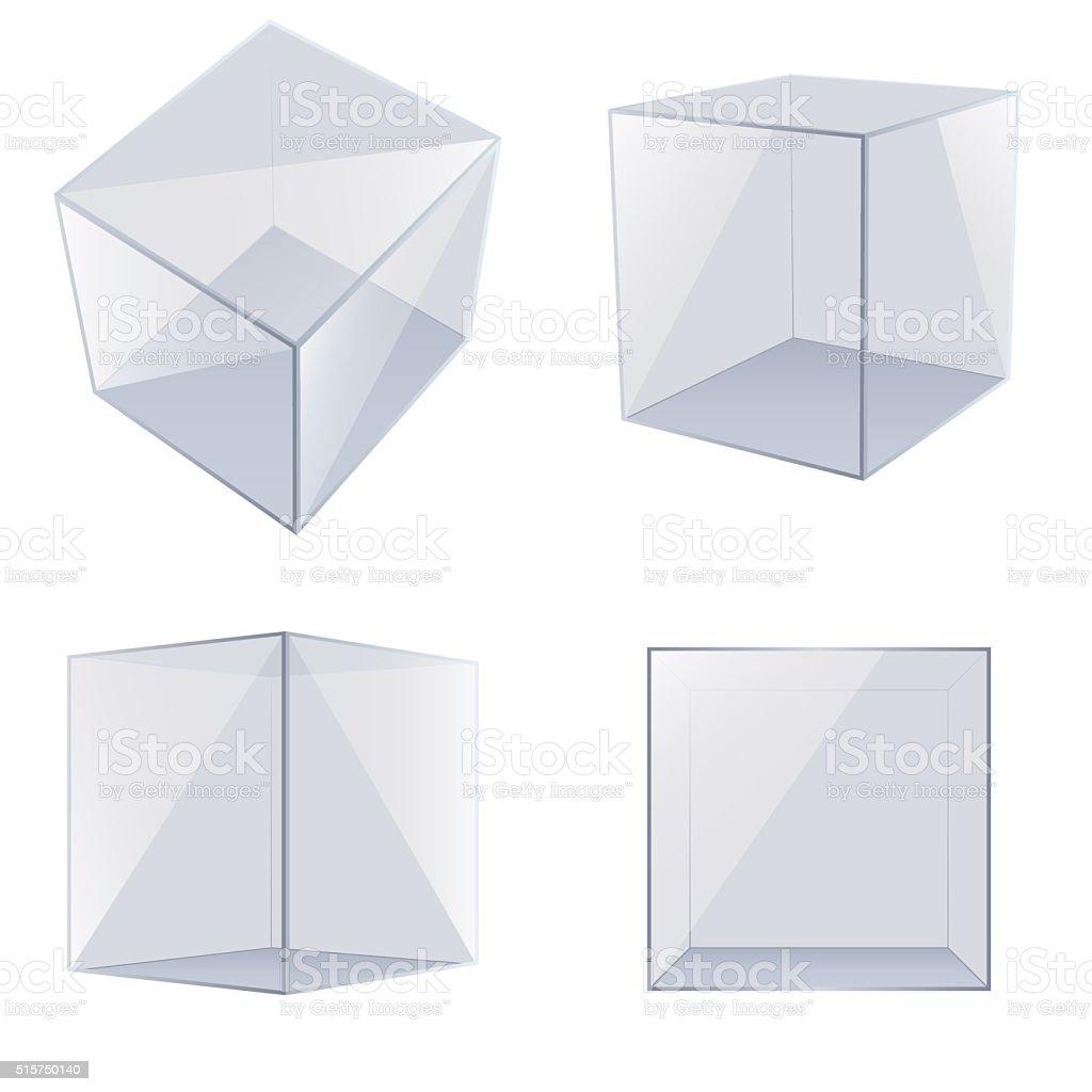Four transparent glass cubes. vector art illustration