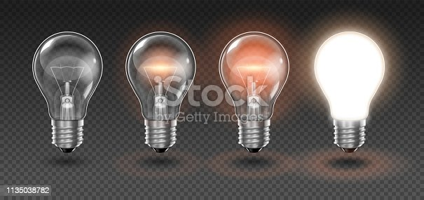 Four  transparent light bulbs, one of which is off, while the others are lit with different brightness on a light background