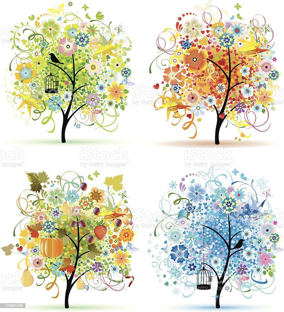 Four Tree royalty-free stock vector art