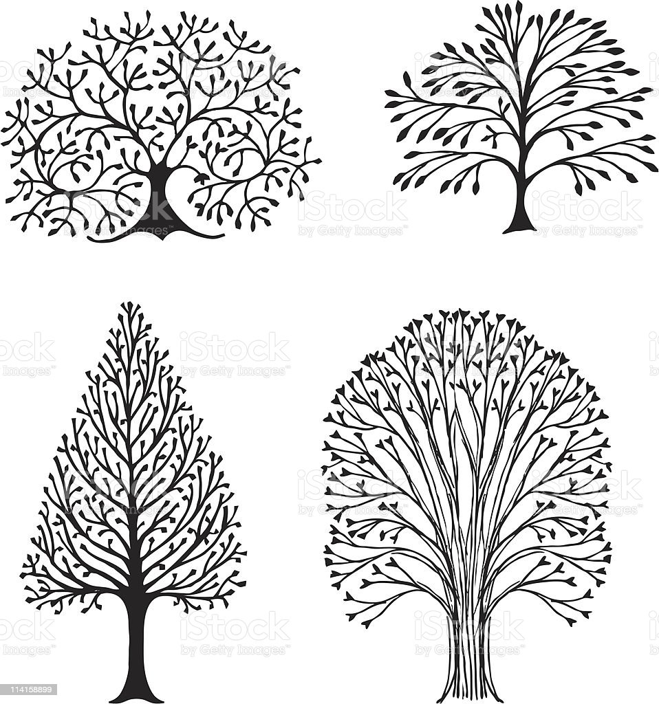Four Trees royalty-free stock vector art