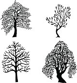 Four different trees that can be used for logos or for architectural drawings