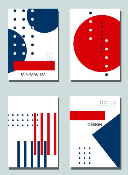 vier trendige cover mit grafischen elementen - abstrakter minimalismus elegante formen. - avantgarde stock-grafiken, -clipart, -cartoons und -symbole