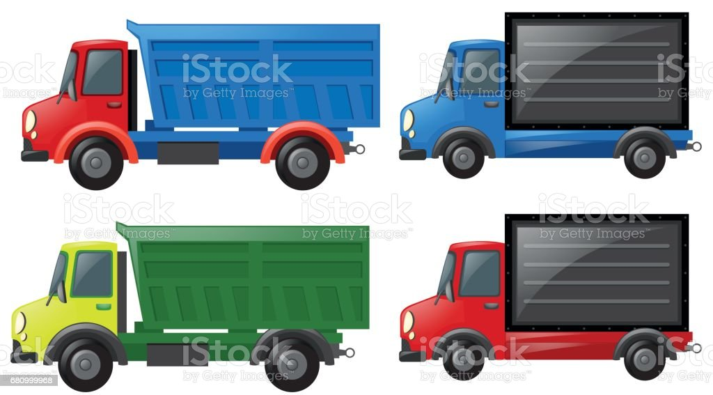 Four trucks in different colors royalty-free four trucks in different colors stock vector art & more images of art