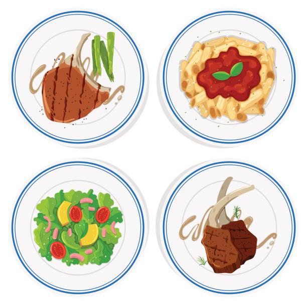 Four types of  food on round plates Four types of  food on round plates illustration penne stock illustrations