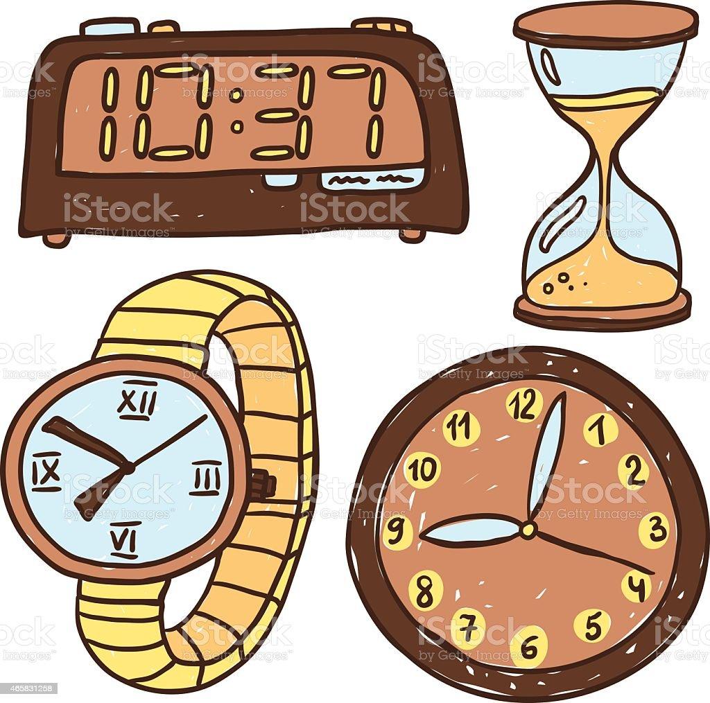 Cuatro tipos de relojes aislado en blanco arte vectorial - Tipos de relojes ...