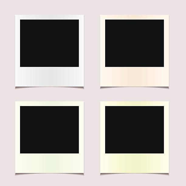 stockillustraties, clipart, cartoons en iconen met four undeveloped polaroid photos - polaroid