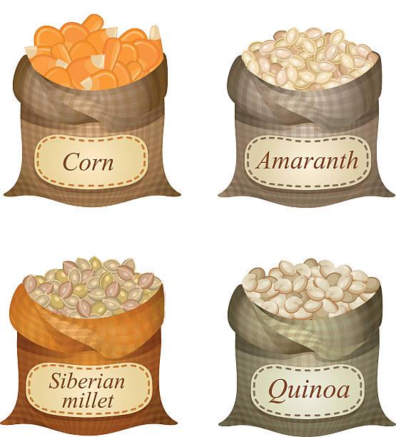 ilustrações de stock, clip art, desenhos animados e ícones de quatro desapertados sacos com cereais e rótulos - quinoa