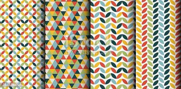 istock Four various retro pattern with abstract geometry shapes 1312799701