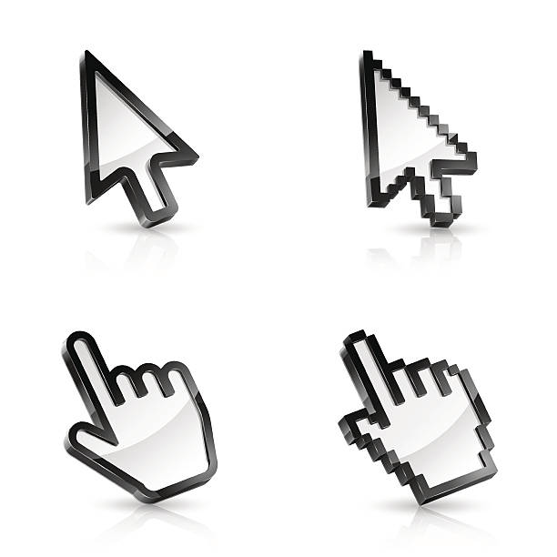 four vector mouse pointers, two arrows and two hands - üç boyutlu stock illustrations