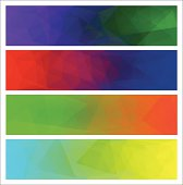 Four vector polygonal backgrounds for banner.