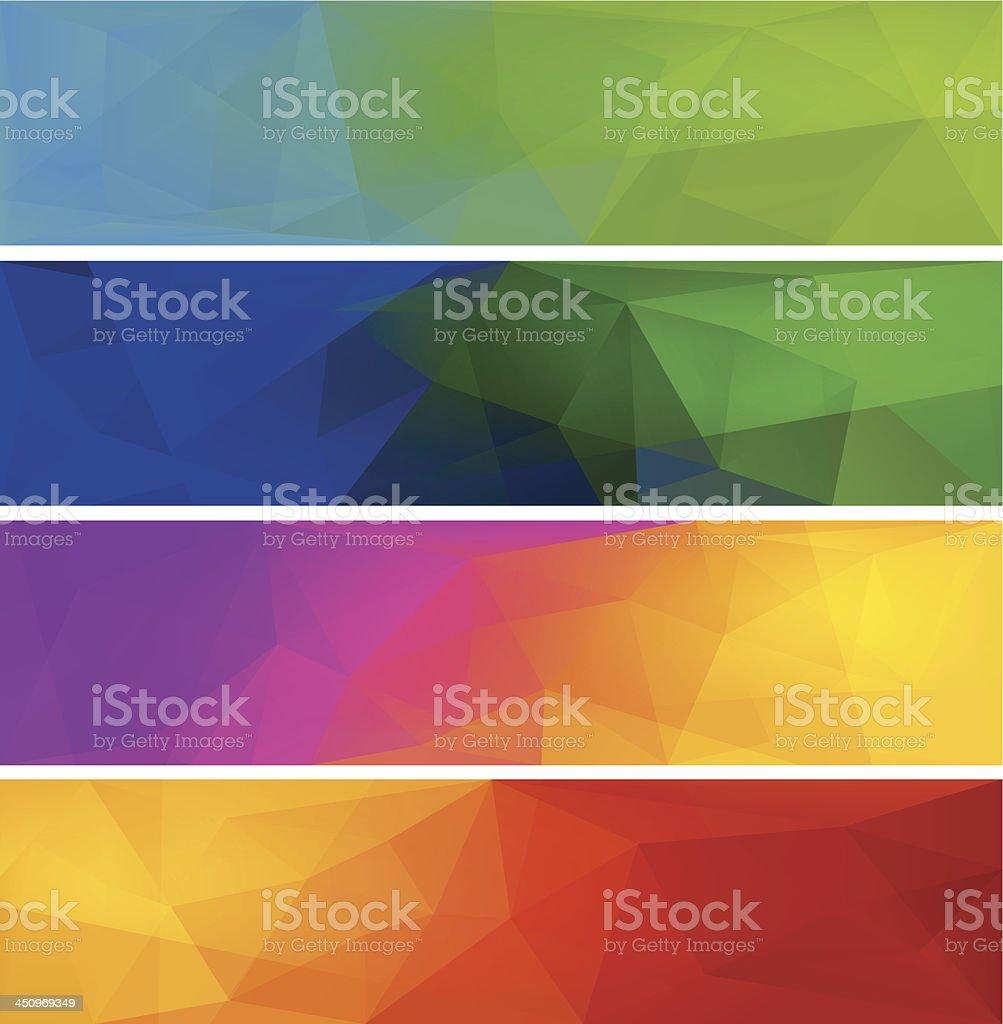 Four vector polygonal backgrounds for banner. vector art illustration
