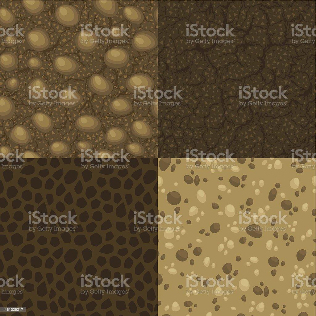 Four vector seamless pattern of ground inside vector art illustration