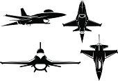 F-16 falcon. Four views.
