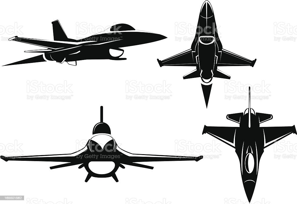 F-16 four views vector art illustration
