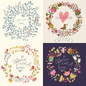 Vector romantic design elements made of flowers. Ideal for wedding invitations